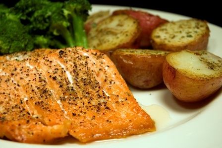 Salmon, potatoes, and broccoli
